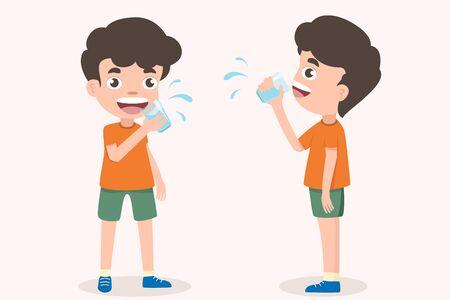 Netter Junge, der ein Glas Trinkwasser des Kindes hält. Lächelnde stehende Jungenkinder, die das Trinkwasser mit Gläsern genießen. Emotional sein Lächeln. Gesundheit und medizinische Vektor-Illustration auf weißem Hintergrund.