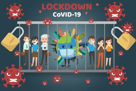 Covid-19 Pandemic world lockdown for quarantine. Covid-19 Coronavirus Outbreak, virus sign with world of life in Prison bar. World lock down protect novel coronavirus 2019. vector illustration.  イラスト・ベクター素材