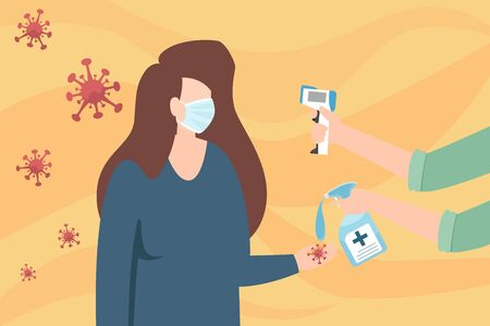 Hands holding infrared thermometer to measure woman temperature at forehead. Screening Covid-19 coronavirus flu patient. protection coronavirus disease outbreak. vector illustration. Ilustrace
