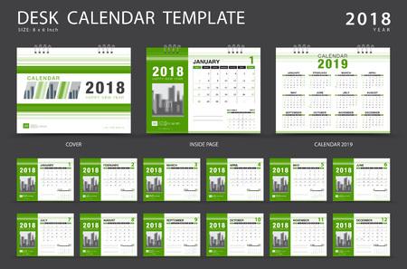 卓上カレンダー2018テンプレート。12ヶ月のセット。プランナー。週は日曜日に始まります。文房具のデザイン。広告。ベクターレイアウト。  イラスト・ベクター素材