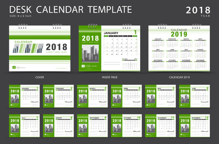Desk calendar 2018 template. Set of 12 Months. Planner. Week starts on Sunday. Stationery design. advertisement. Vector layout. Zdjęcie Seryjne - 89181923