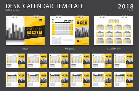Desk calendar 2018 template. Set of 12 Months. Planner. Week starts on Sunday. Stationery design. advertisement. Business flyer. cover. Vector layout.