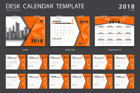 Desk calendar 2018 template. Set of 12 Months. Planner. Week starts on Sunday. Stationery design. advertisement. Vector layout.