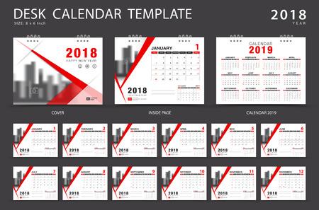 Desk calendar 2018 template. Set of 12 Months. Planner. Week starts on Sunday. Stationery design. advertisement. Vector layout. red cover. business brochure flyer.  イラスト・ベクター素材