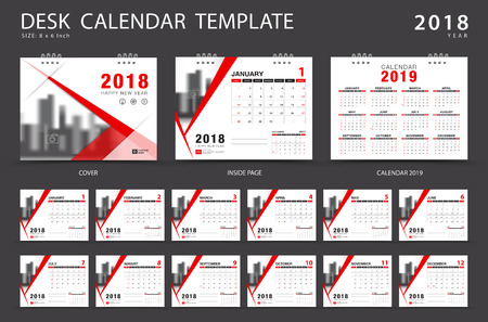 Desk calendar 2018 template. Set of 12 Months. Planner. Week starts on Sunday. Stationery design. advertisement. Vector layout. red cover. business brochure flyer.