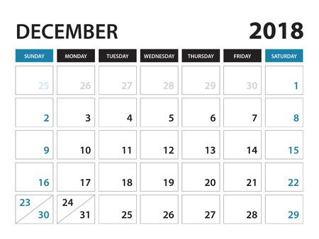 Printable calendar for December 2018, Planner design template,  Week starts on Sunday, Stationery design