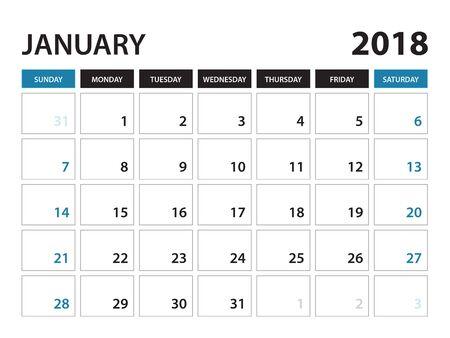 Printable calendar for January 2018, Planner design template,  Week starts on Sunday, Stationery design