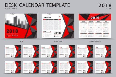 卓上カレンダー2018テンプレート。12ヶ月のセット。プランナー。週は日曜日に始まります。文房具のデザイン。広告。ベクターレイアウト。赤いカバー。 写真素材 - 89395288