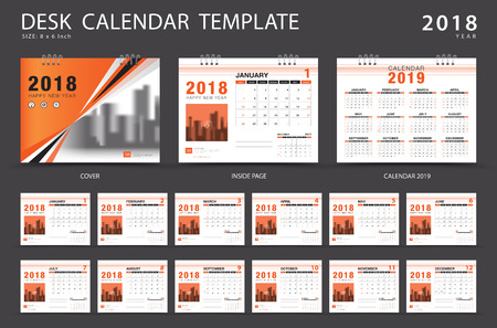 Desk calendar 2018 template. Illustration