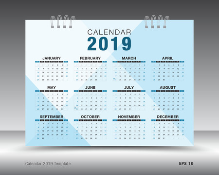 Calendar 2019 template layout. blue business brochure flyer. print media
