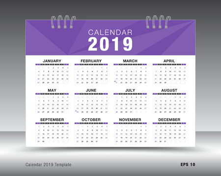 Calendar 2019 template layout. Purple business brochure flyer. print media Illustration