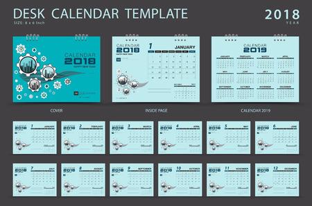 Desk calendar 2018 template. Set of 12 Months. Planner. Week starts on Sunday. Stationery design. Illustration