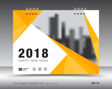 Cover calendar 2018 template. Yellow cover layout. business brochure flyer design. advertisement. booklet. annual report. print media.