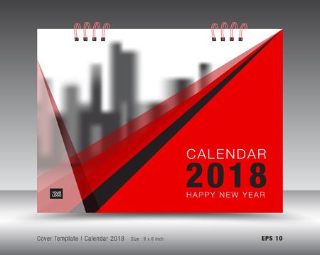Cover calendar 2018 template, Red cover business brochure flyer design, advertisement, booklet, annual report design Stok Fotoğraf - 90836356