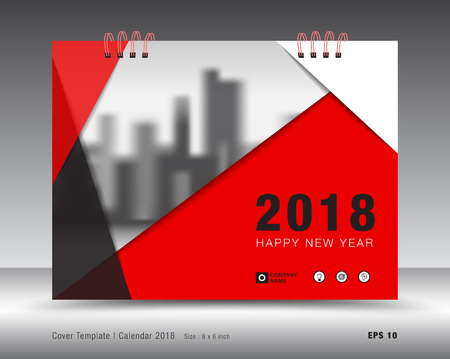 Cover calendar 2018 template, Red cover business brochure flyer design, advertisement, booklet, annual report design
