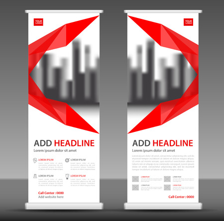 Red Roll up banner stand template design, flyer layout vector Иллюстрация