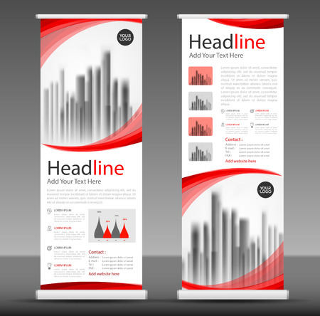 Red roll up business brochure banner design.