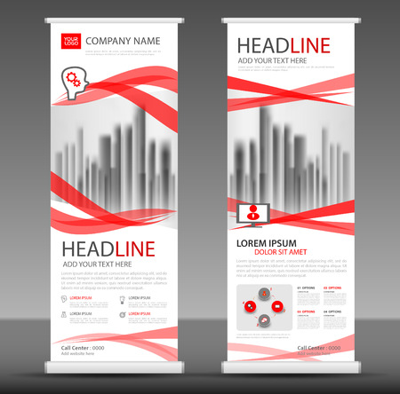 Red Roll up banner stand template design.