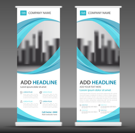 Blue Roll up banner stand template design.