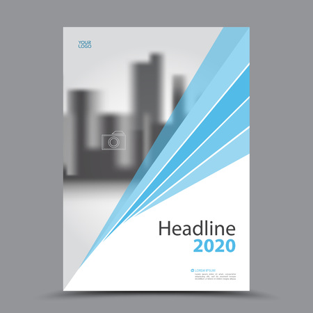 Blue cover design annual report template. business brochure layout. Book cover template for corporate.