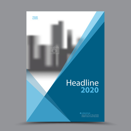 Blue cover design annual report  template. business brochure flyer layout. Book cover template for corporate. vector.