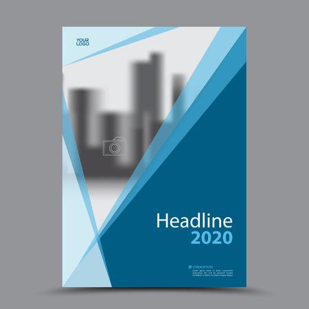 Blue cover design annual report template.
