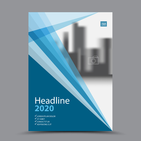 Blue cover design annual report template. business brochure layout. Book cover template for corporate. vector.