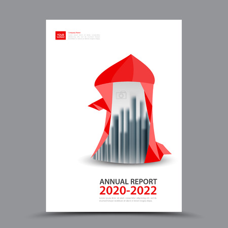Red Brochure template layout, cover design annual report, magazine, flyer or booklet in A4, magazine, advertising, poster, leaflet, business layout, polygon vector illustration Illustration
