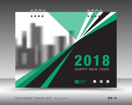 Cover calendar 2018 template. Green book layout. business brochure flyer design. advertisement. booklet. annual report. print media. Vettoriali