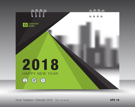 Cover calendar 2018 template. Green book layout. business brochure flyer design. advertisement. booklet. annual report. print media. Illustration
