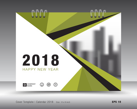 Cover calendar 2018 template. Green book layout. business brochure flyer design. advertisement. booklet. annual report. print media. Illustration