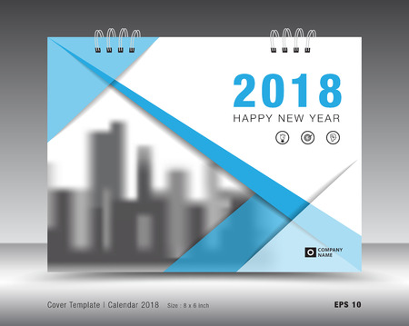 Cover calendar 2018 template. Blue cover layout. business brochure flyer design. advertisement. booklet. annual report. print media.