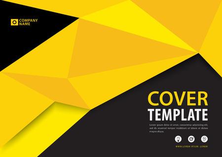 黒と黄色のカバーテンプレート多角形の背景、水平レイアウト、ビジネスパンフレットチラシ、年次報告書、書籍、広告。