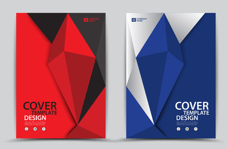 Red and Blue cover template polygonal background, Vertical layout, Business brochure flyer, annual report, book, advertisement.