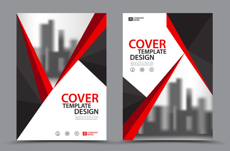 Red Color Scheme with City Background Business Book Cover Design Template in A4. Brochure layout, Annual Report, Magazine, Poster, Presentation, Portfolio, Flyer, Banner, Website, leaflet, other. Standard-Bild - 93821030