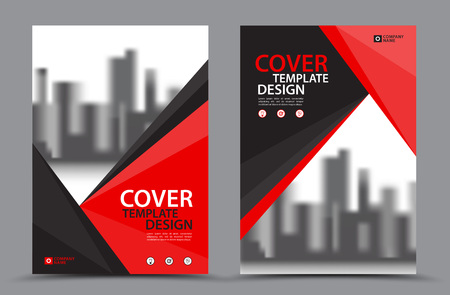 Red Color Scheme with City Background Business Book Cover Design Template in A4. Brochure layout, Annual Report, Magazine, Poster, Presentation, Portfolio, Flyer, Banner, Website, leaflet, other.
