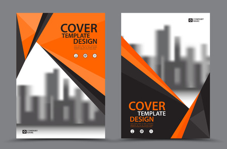 Orange Color Scheme with City Background Business Book Cover Design Template in A4. Brochure flyer layout. Annual Report. Magazine. Poster. Presentation. Portfolio. Banner. leaflet.