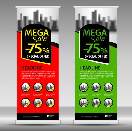 Mega sale Roll up banner template, flyer layout vector, pull up, x-banner, web banner design, business flyer, poster, ad, advertisement, backdrop, j-flag, printing media