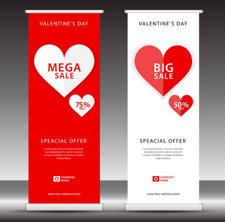 Valentines day sale Roll up banner template, flyer layout vector, pull up, x-banner, web banner design, business flyer, poster, ad, advertisement, backdrop, j-flag, printing media