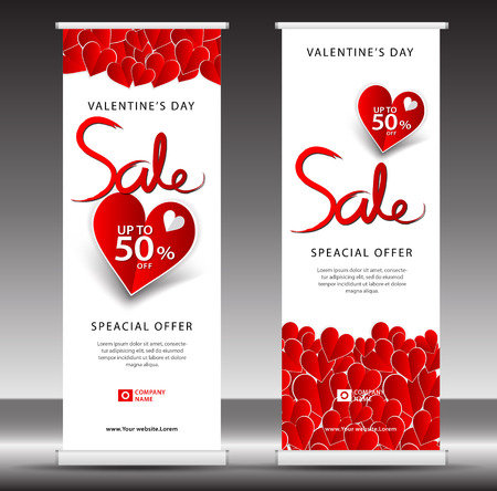 Valentines day sale roll up banner template, flyer layout vector, pull up, x-banner, web banner design, business flyer, poster, ad, advertisement, backdrop, j-flag, printing media.