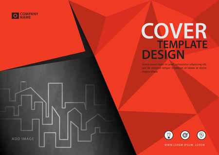 Orange cover template for business industry, Real Estate. vector illustration Vettoriali