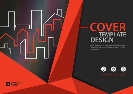 Orange cover template for business industry, Real Estate. vector illustration Stok Fotoğraf - 95457247