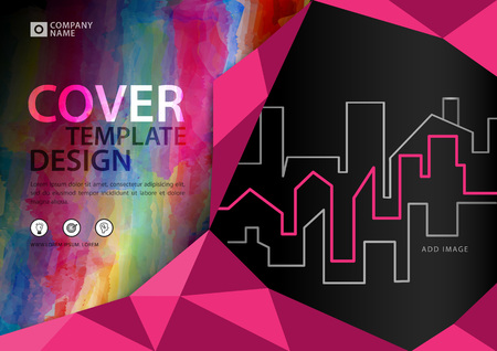 Pink polygonal cover template for business industry, Real Estate, building, home,Machinery, other.