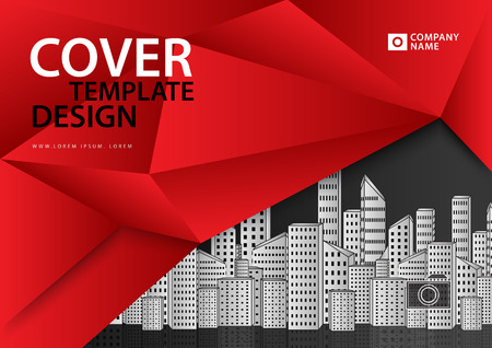 Red cover template for business industry, real estate, building, home, machinery. Horizontal layout, polygonal background.