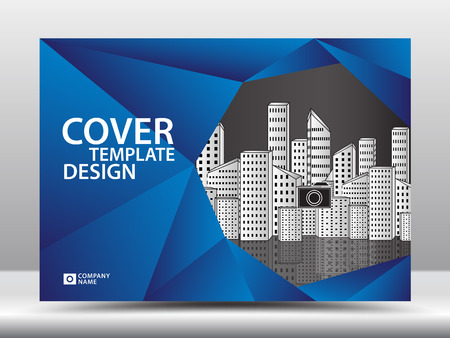 Blue cover template for business industry. horizontal layout. polygonal background vector.  イラスト・ベクター素材