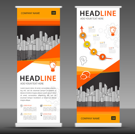 Orange Roll up banner stand template design