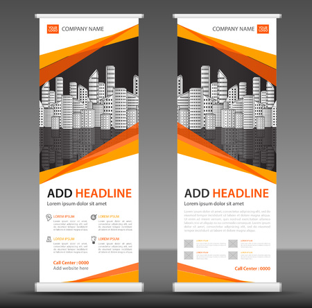 Orange Roll up banner stand template design