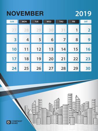 NOVEMBER 2019 Month template, Desk Calendar for 2019 year, week start on sunday, planner, stationery, Blue Concept, vertical layout vector illustration