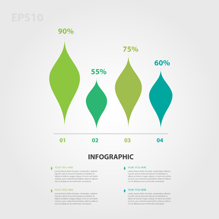 Infographic elements vector for business, triangle icon,leaves icon, business template, presentation Иллюстрация