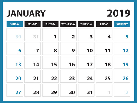 Desk calendar for January 2019 template, Printable calendar, Planner design template,  Week starts on Sunday, Stationery design, vector illustration Çizim